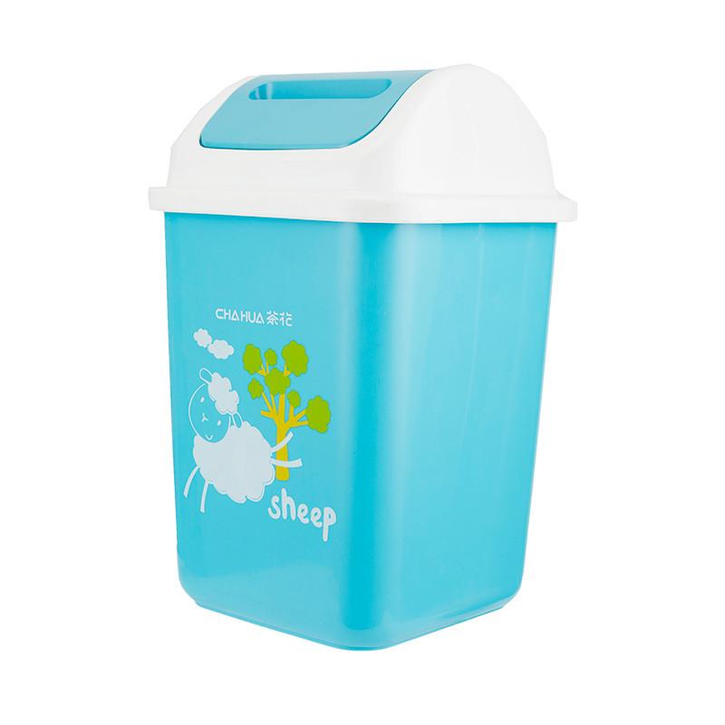 茶花方形摇盖欧式垃圾桶