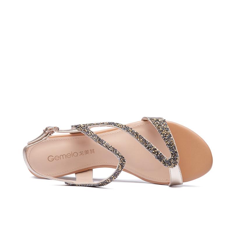 凉鞋女坡跟罗马风格