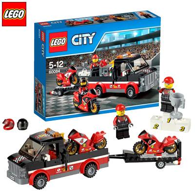乐高lego正品积木拼装玩具城市系列摩托赛车运输车乐高玩具 60084怎么图片