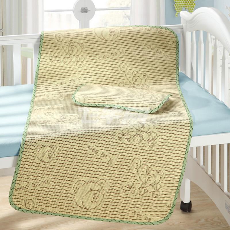 笑巴喜 婴儿凉席夏季宝宝儿童草席 幼儿园婴儿床席子套装 亚麻草 蓝格