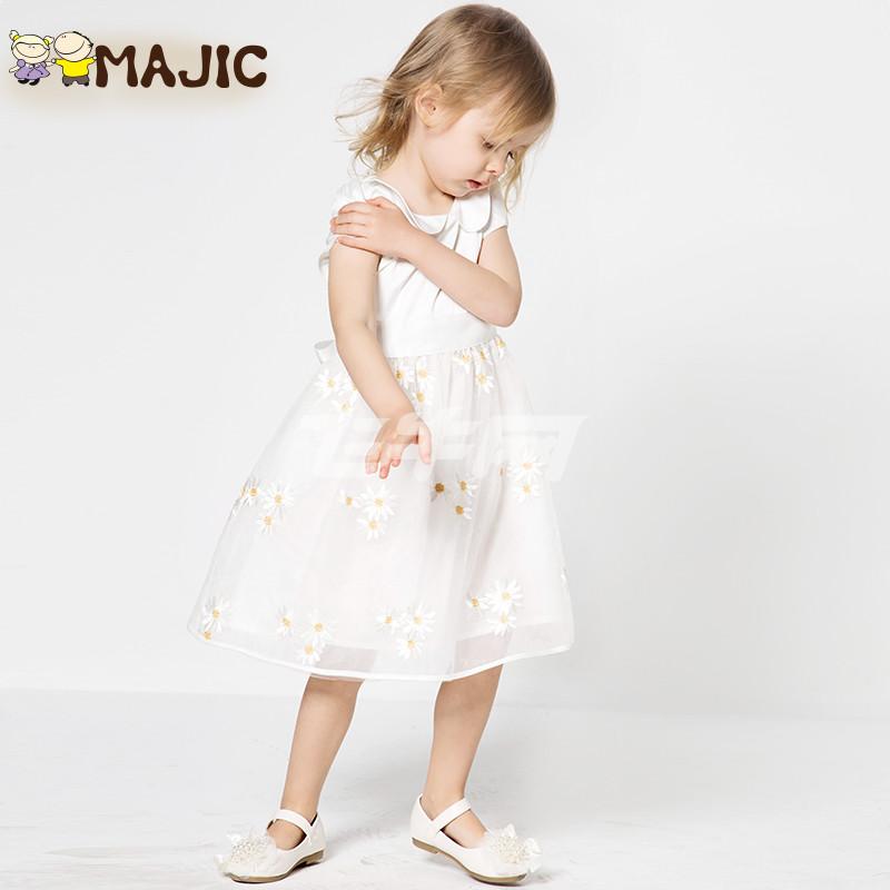 玛吉卡 女童连衣裙童装背心裙娃娃领公主裙刺绣花可爱 0293 白色 140