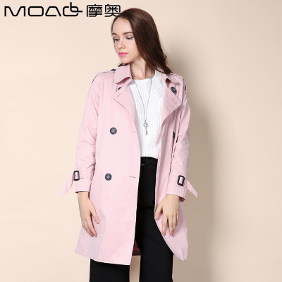 摩奧 摩奧女裝2016秋季新款韓版長袖中長款風衣雙排扣圖片