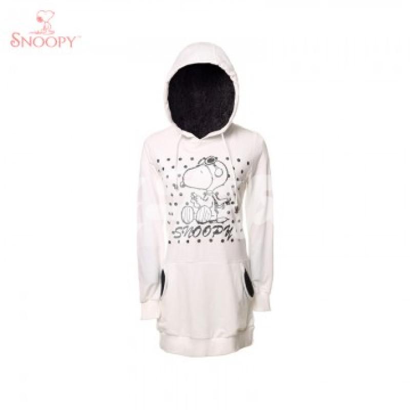 史努比snoopy 可爱口袋装饰 女式长款连帽卫衣 126f10