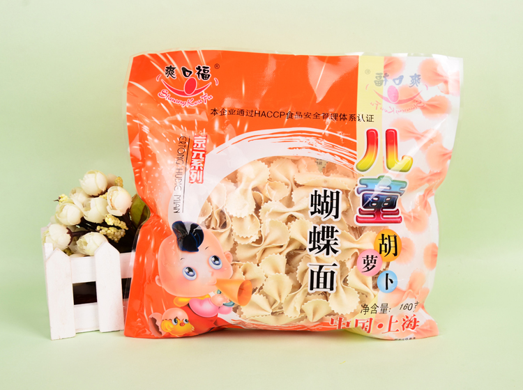 爽口福儿童胡萝卜蝴蝶面160克/袋