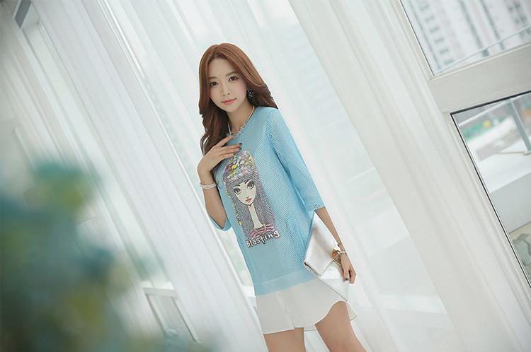 薇语馨 新款甜美小清新头像网格镂空假两件连衣裙 1017 蓝色 l