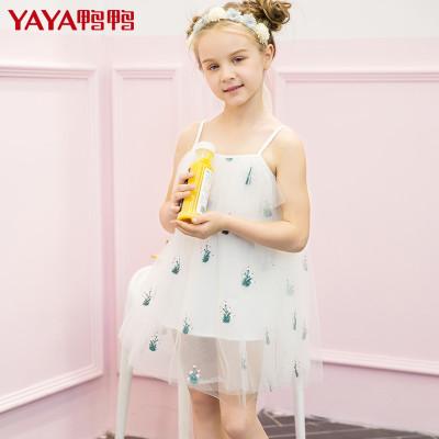 yaya鸭鸭童装夏装新款女宝宝绣花纱裙公主裙女童吊带连衣裙q-g370302