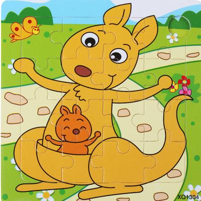 小皇帝16片平面木制拼图拼板袋鼠卡通动物 儿童益智玩具 pg66164怎么