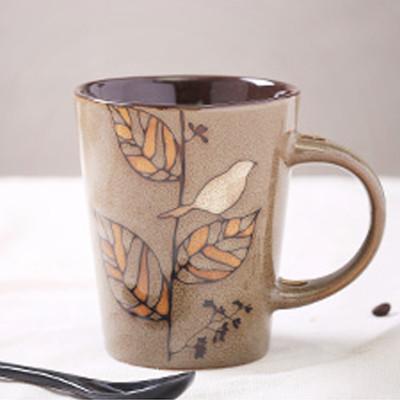 瓷彩美 手绘陶瓷杯子 复古马克杯 个性插勺咖啡杯 创意茶水杯情侣对杯