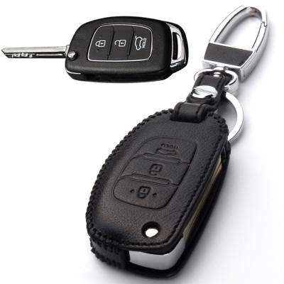 汽车手缝牛皮钥匙包扣套专用于现代名图朗动ix35ix25索纳塔瑞纳悦动