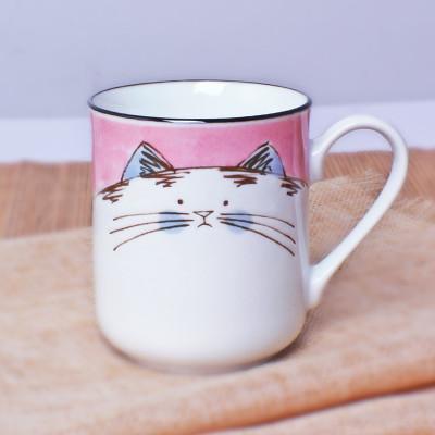 日本进口日式手绘釉下彩料理饭碗茶碗水杯萌猫系列dmf