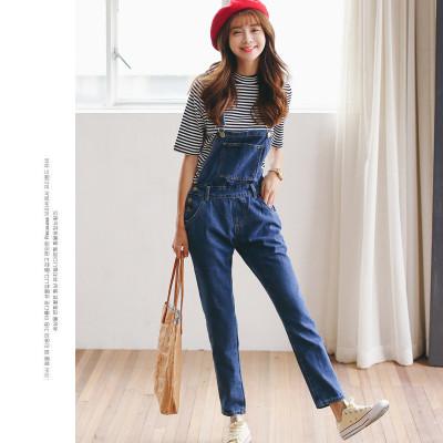 2017春款新款韩版学院风学生闺蜜装水洗可爱大口袋牛仔背带裤连体裤