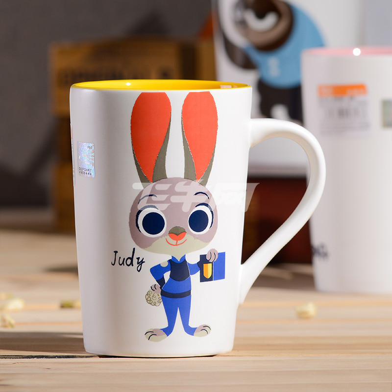 动物城马克杯 陶瓷创意卡通情侣家用办公水杯 兔子(黄