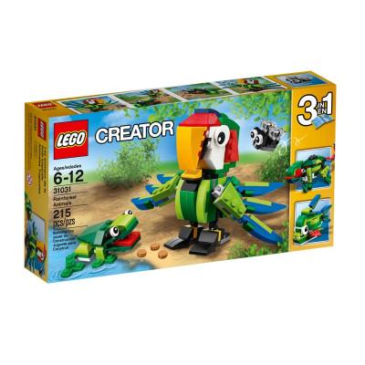 乐高LEGO动物创意百变31031正品机械早教拼图纸看雨林怎么学图片
