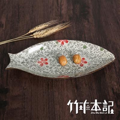 竹木本记 鱼盘釉下彩手绘创意盘子陶瓷餐具鱼形日式大