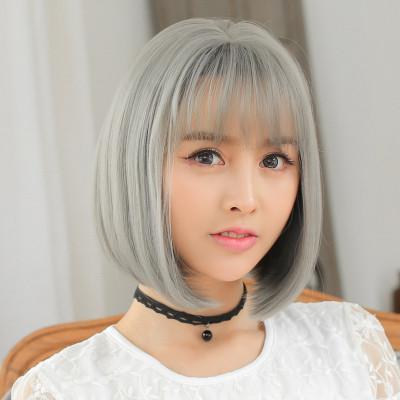 美元素假发女 短发空气刘海bobo头 时尚奶奶灰假发 女生假头发波波头
