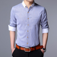 一斯特酷2017春季新款休闲时尚男装条纹潮流长袖立领修身衬衫