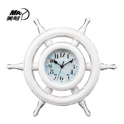 美时 美时创意挂钟16寸客厅欧式钟表船舵静音时钟现代