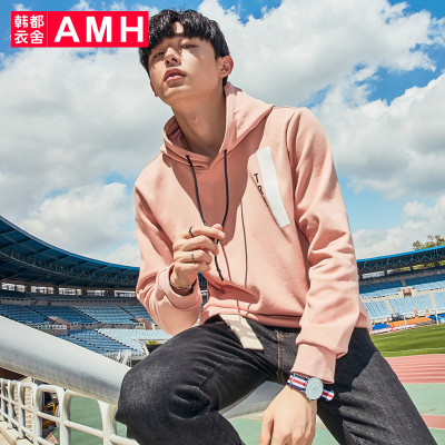 AMH男装韩版2017秋季新款连帽卫衣男潮流学