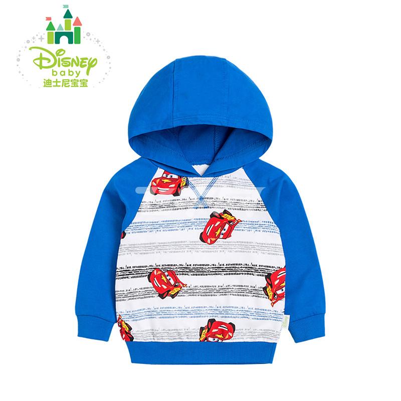 disney/迪士尼 男童卫衣纯棉男宝宝上衣绒衫带帽春秋款 163s821 蓝色