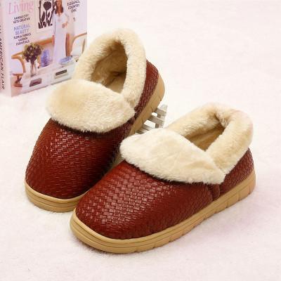 红兔子 编织纹翻口防滑毛绒pu皮棉鞋 保暖棉拖鞋 暖棉鞋/保暖家居棉