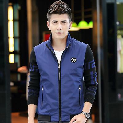 秋裝新款夾克男薄外套以純色為主立領拼接俢身商務韓版休閑裝男士外衣圖片