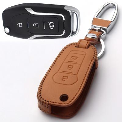 美霸 汽车手缝真皮钥匙包扣套专用于福特 新蒙迪欧 福睿斯 全新锐界