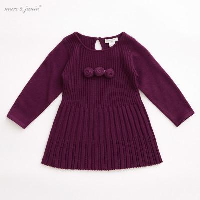马克珍妮女宝宝婴儿羊毛裙子 女童针织连衣裙