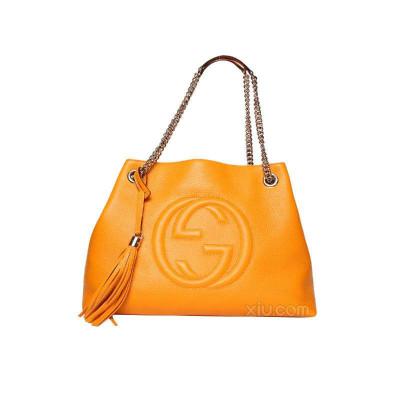 Gucci 古驰 女士牛皮logo锁扣 通勤手提包怎么